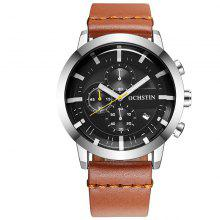 OCHSTIN GQ078 Men Leather Quartz Sport Multifunction Wrist Watch