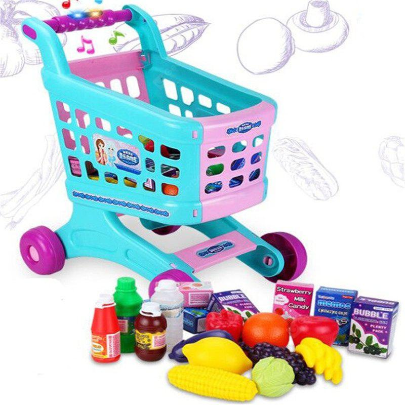 Kid Pretend Toy Music Reaction Shopping Trolley Shape Design Toy