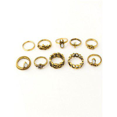 European and American Vintage and Carved 10-piece Ring
