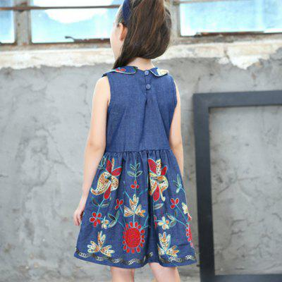 New Girl's Embroidered Skirt with A Wavy Lace Dresses