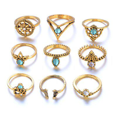 9 Piece Ring Vintage Fashion Crystal cameo
