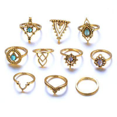 10 Pcs Rings Vintage Hollow Carved Crystal Cameo