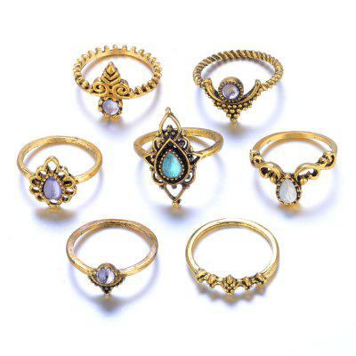 7 Piece Ring Alloy Vintage Ethnic Hollow Crystal Cameo