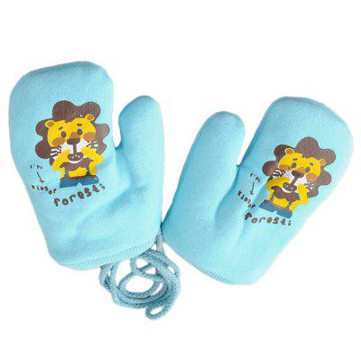 Cartoon Cute Printing Rope Warm Gloves
