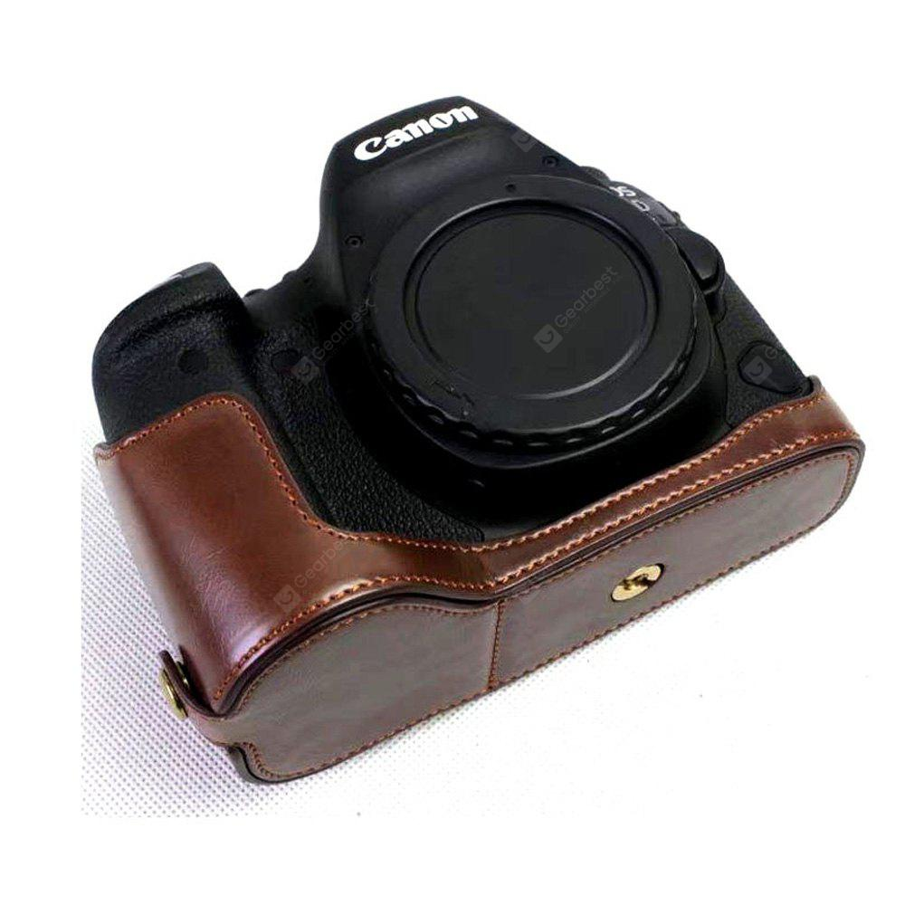 PU Leather Half Camera Case Bag Cover Base for Canon EOS 6D Mark II 6D2