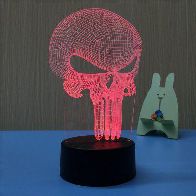 3D Alien Skull USB Touch And Control Seven Colour Night Light Bedroom Bedside LED Lamp
