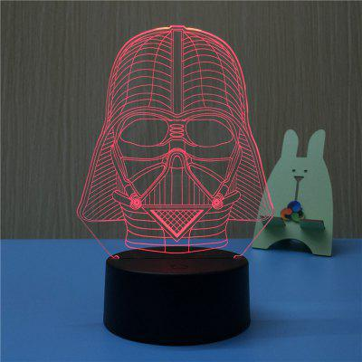 3D Black Knight USB Touch And Control Seven Colour Night Light Bedroom Bedside LED Lamp