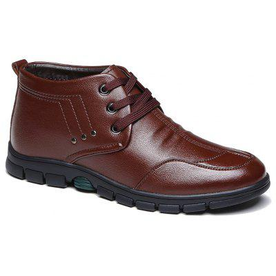 High Barrel Plush Warm Leather Shoes