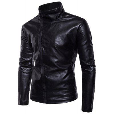 Motorcycle Leather Collar Jacket