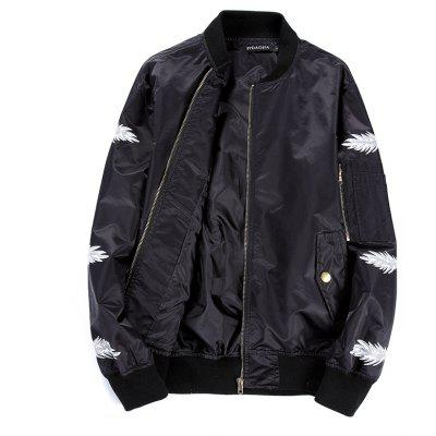 Spring New Big Code Male Feather Printing Star Embroidered Baseball Jacket