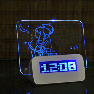 LED Fluorescent Digital Alarm Clock with Message Board USB 4 Port Hub LED Fluorescent Message Board Powered By USB Charg