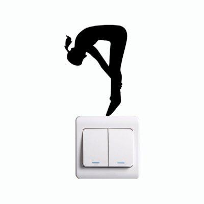 KG-218 Gymnast Stretching On Back On Light Switch Sticker Cartoon Silhouette Home Decor