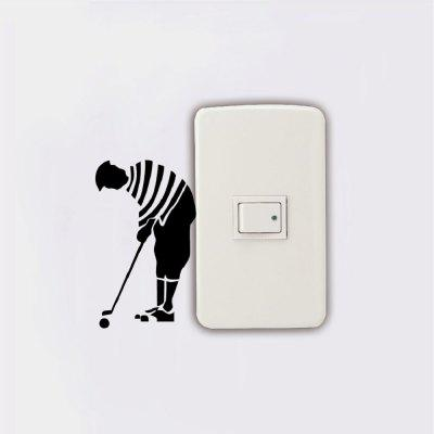 KG-240 Men Playing Golf Light Switch Sticker Cartoon Golfer Vinyl Wall StickerWall Stickers<br>KG-240 Men Playing Golf Light Switch Sticker Cartoon Golfer Vinyl Wall Sticker<br><br>Art Style: Plane Wall Stickers, Toilet Stickers<br>Color Scheme: Black<br>Effect Size (L x W): 5.7 x 9.5cm<br>Function: Light Switch Stickers, Decorative Wall Sticker<br>Layout Size (L x W): 5.7 x 9.5cm<br>Material: Vinyl(PVC)<br>Package Contents: 1 x Wall Sticker<br>Package size (L x W x H): 10.00 x 10.00 x 1.00 cm / 3.94 x 3.94 x 0.39 inches<br>Package weight: 0.0200 kg<br>Product size (L x W x H): 5.70 x 9.50 x 0.01 cm / 2.24 x 3.74 x 0 inches<br>Product weight: 0.0100 kg<br>Quantity: 1<br>Sizes: Others<br>Subjects: Fashion,Vintage,Others,Letter,Cute,Cartoon,Music,Famous,Romance<br>Suitable Space: Living Room,Hotel,Kids Room,Pathway,Kids Room,Boys Room,Girls Room,Game Room<br>Type: Plane Wall Sticker