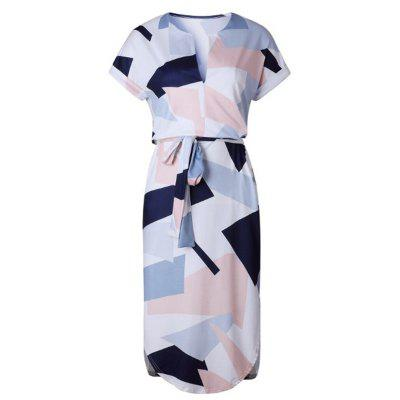 Buy MULTICOLOR L New Women Ladies Sexy Short Sleeve Casual Color Patchwork Knee Length Dress for $33.61 in GearBest store