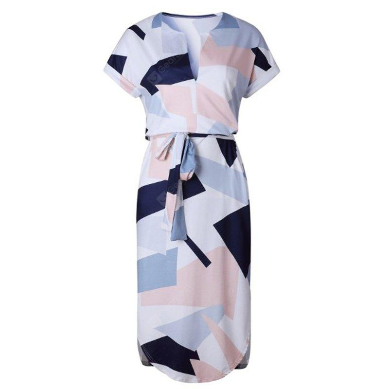 New Women Ladies Sexy Short Sleeve Casual Color Patchwork Knee Length Dress