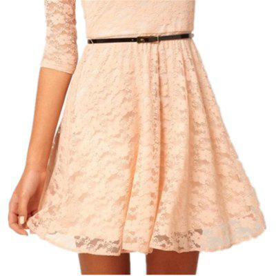 Fashion Casual Candy Color Lace DressWomens Dresses<br>Fashion Casual Candy Color Lace Dress<br><br>Dresses Length: Knee-Length<br>Elasticity: Elastic<br>Fabric Type: Twill<br>Material: Lace<br>Neckline: Round Collar<br>Package Contents: 1 x Dress<br>Pattern Type: Others<br>Season: Summer<br>Silhouette: Straight<br>Sleeve Length: 3/4 Length Sleeves<br>Style: Casual<br>Weight: 0.1800kg<br>With Belt: No