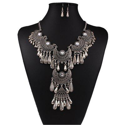 Women's Vintage Jewelry Set Big Tassel Pendant Necklace Drop Earrings