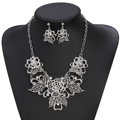 Women's Girls Jewelry Set Hollow Rose Flower Pendant Necklace Drop Earrings Bride Gifts