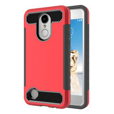 for LG LV3 / K8 2017 Shockproof Hard PC Flexible TPU Laminated Carbon Fiber Chrome Anti-scratch Protective Case