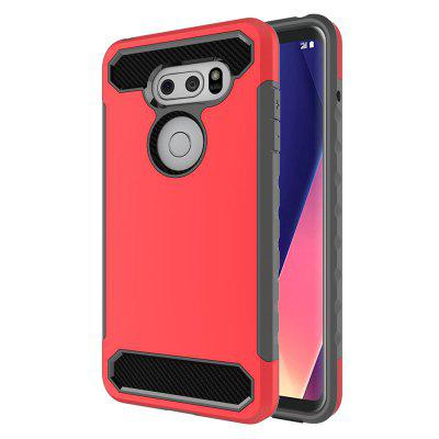 for LG V30 Shockproof Hard PC Flexible TPU Laminated Carbon Fiber Chrome Anti-scratch Protective Case