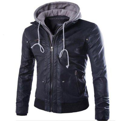Leather Suits Hooded Fake Two Men's Motorcycle Coat