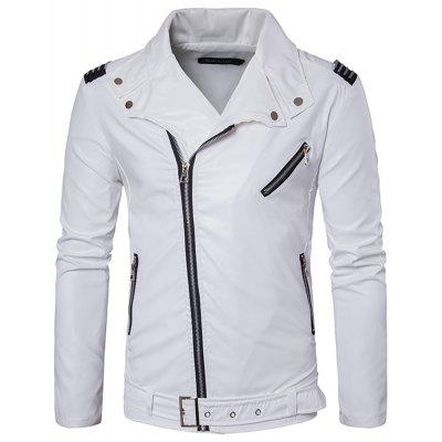 Men's Zipper Punk Large Lapel Fashion Casual Trend of Leather Jacket