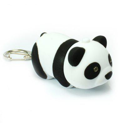 Cute Giant Panda LED Emitindo Light Key Ring com Sound Flashlight Toy