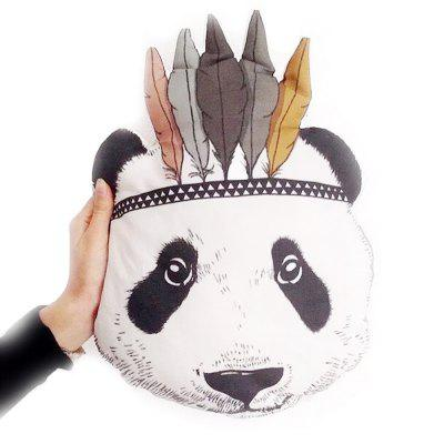 Skating Panda Head Cushions Pillow Doll Baby Room Decoration