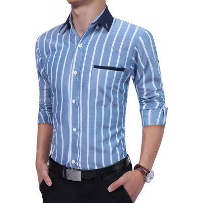Casual Long Sleeved Vertical Striped ShirtMens Shirts<br>Casual Long Sleeved Vertical Striped Shirt<br><br>Collar: Turn-down Collar<br>Material: Cotton, Polyester<br>Package Contents: 1 xShirt<br>Shirts Type: Casual Shirts<br>Sleeve Length: Full<br>Weight: 0.2500kg