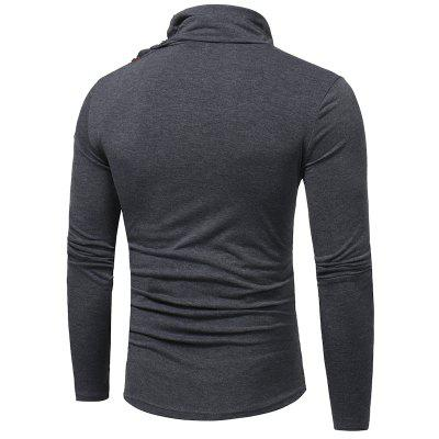 Horn Button Long Sleeved T-ShirtMens Long Sleeves Tees<br>Horn Button Long Sleeved T-Shirt<br><br>Collar: Turtleneck<br>Material: Cotton, Polyester<br>Package Contents: 1 x T-shirt<br>Pattern Type: Others<br>Sleeve Length: Full<br>Style: Casual<br>Weight: 0.2500kg