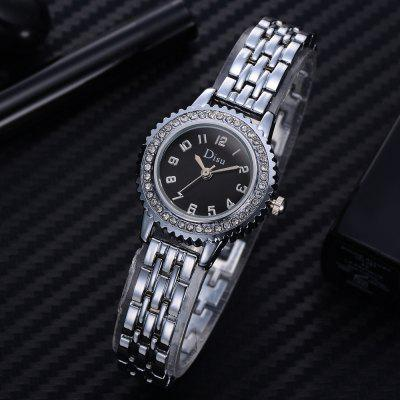 DS052 Women Analog Quartz Metal Watch with DiamondsWomens Watches<br>DS052 Women Analog Quartz Metal Watch with Diamonds<br><br>Band material: Zinc Alloy<br>Band size: 19.8 x 1 CM<br>Case material: Alloy<br>Clasp type: Sheet folding clasp<br>Dial size: 2.2 x 2.2 x 0.7 CM<br>Display type: Analog<br>Movement type: Quartz watch<br>Package Contents: 1 x Watch<br>Package size (L x W x H): 20.00 x 4.00 x 1.00 cm / 7.87 x 1.57 x 0.39 inches<br>Package weight: 0.0400 kg<br>Product size (L x W x H): 19.80 x 2.20 x 0.70 cm / 7.8 x 0.87 x 0.28 inches<br>Product weight: 0.0370 kg<br>Shape of the dial: Round<br>Special features: Day<br>Watch mirror: Mineral glass<br>Watch style: Fashion, Business, Retro, Lovely, Wristband Style, Jewellery, Casual<br>Watches categories: Women,Female table<br>Water resistance: Life water resistant