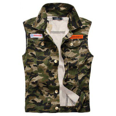 Men's Labeling Camouflage Sleeveless Vest Jacket