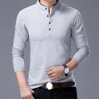 Long Sleeve Henry Collar T Shirt Men Brand Soft Pure Cotton TeesMens T-shirts<br>Long Sleeve Henry Collar T Shirt Men Brand Soft Pure Cotton Tees<br><br>Collar: Stand-Up Collar<br>Embellishment: Button<br>Fabric Type: Broadcloth<br>Material: Cotton<br>Package Contents: 1XTshirt<br>Pattern Type: Solid<br>Sleeve Length: Full<br>Style: Casual<br>Weight: 0.2500kg