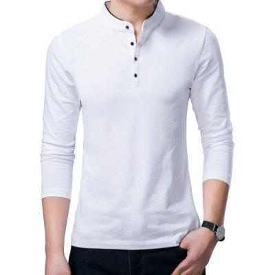 Buy WHITE L Long Sleeve Henry Collar T Shirt Men Brand Soft Pure Cotton Tees for $34.55 in GearBest store