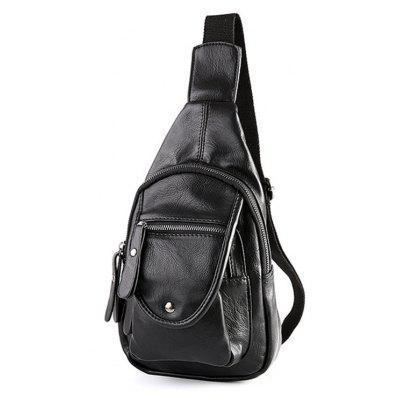 Leather Casual Small Unbalance Backpack Fashion Korean Chest Pack- BLACK