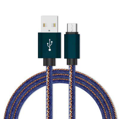 1M Micro USB Cable Fast Charger Data Jeans Braided Mobile Phone Charger