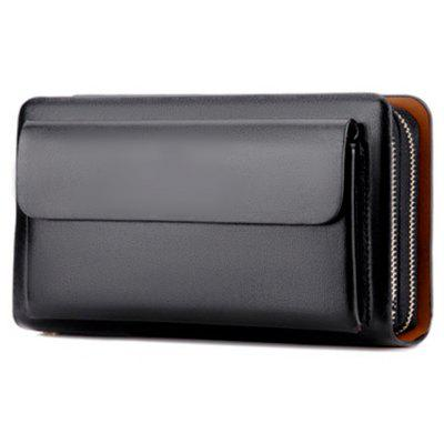 Small Wallet Male Clutch Card Holder Wallet Men Leather Male Coin Purse Portable Men Wallets Hasp Money Bags -  BLACK