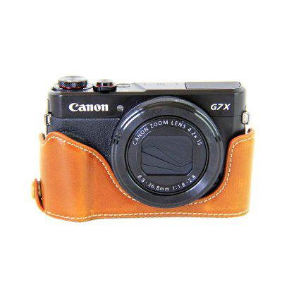 PU Leather Half Camera Case Bag Cover Base for Canon G7X Mark II G7X2