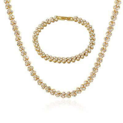 Men and Women Diamond Plated Gold Necklace Bracelet Set $44 04