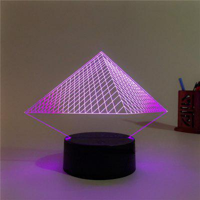 3D Pyramid Remote Control Board USB Touch 7 Color Night Light LED Bedroom Bedside Lamp