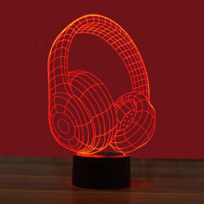 3D Headset Remote Control Board USB Touch 7 Color Night Light LED Bedroom Bedside Lamp