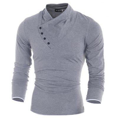 New  Fashion Oblique Button Collar Slim Long-Sleeved  Solid Color T-ShirtMens T-shirts<br>New  Fashion Oblique Button Collar Slim Long-Sleeved  Solid Color T-Shirt<br><br>Collar: Stand-Up Collar<br>Material: Cotton, Polyester, Cotton Blends<br>Package Contents: 1x T-Shirt<br>Pattern Type: Solid<br>Sleeve Length: Full<br>Style: Casual<br>Weight: 0.2800kg