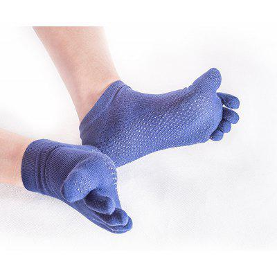 Buy COLOR BLUE Female Slip Silicone Socks Sports Socks Toe Sweat Breathable Cotton Yoga Five Finger Socks for $10.37 in GearBest store