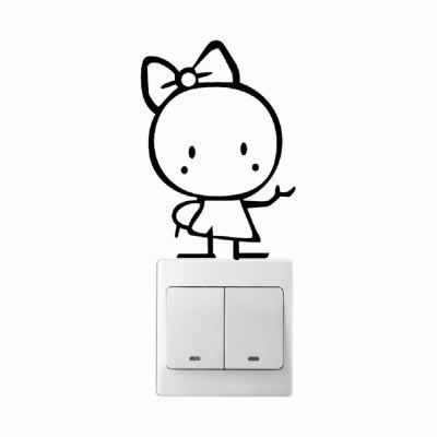 Buy KG-247 Music Wall Stickers Switch Little Girl Cute Cartoon Children Room Home Decor, BLACK, Home & Garden, Home Decors, Wall Art, Wall Stickers for $1.75 in GearBest store