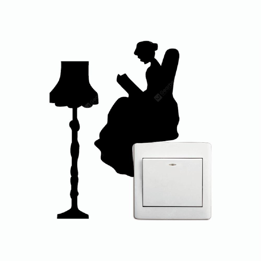 Kg 258 Reading Lady With Lamp Switch Sticker Cartoon