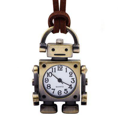 Retro Cartoon Robot Shape Pocket Quartz Keyring Reloj Colgante Regalos