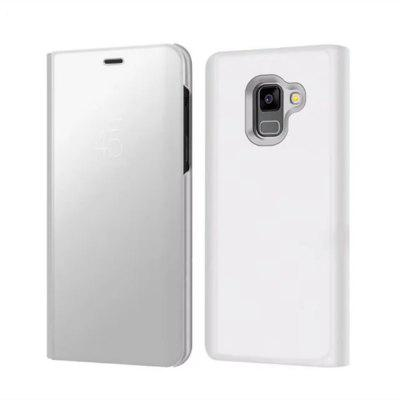 Case Cover for Samsung Galaxy A8(2018) With Stand Plating Mirror Flip Full Body Solid Color Hard