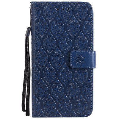 Cover Case For iPhone X Embossed Rattan Pattern PU Leather Wallet