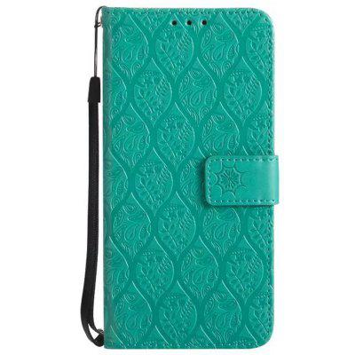 Cover Case for Samsung Galaxy A8 Plus 2018 Embossed Rattan Pattern PU Leather Wallet