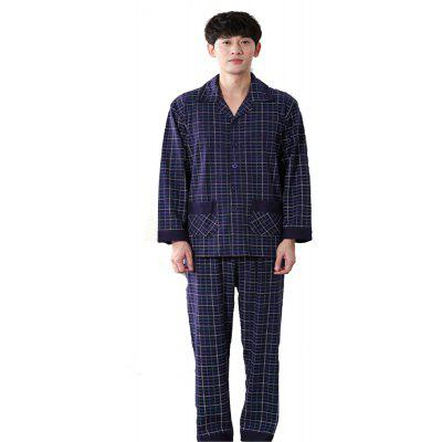 Men's Pajamas Long Sleeve Pants Thin Cotton Cardigan